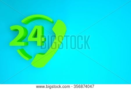 Green Telephone 24 Hours Support Icon Isolated On Blue Background. All-day Customer Support Call-cen