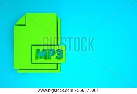 Green Mp3 File Document. Download Mp3 Button Icon Isolated On Blue Background. Mp3 Music Format Sign