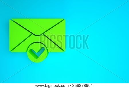 Green Envelope And Check Mark Icon Isolated On Blue Background. Successful E-mail Delivery, Email De