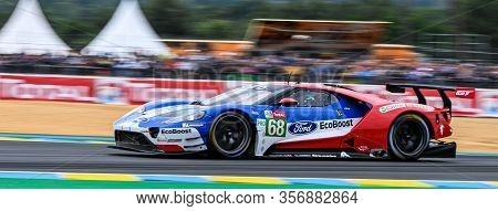 Le Mans / France - June 15-16 2019: 24 Hours Of Le Mans, Ford Chip Ganassi  Team Usa, Tford Gt Gtepr