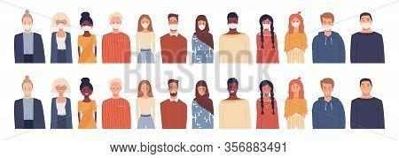 Set Of Vector Illustrations In Flat Style Isolated On White. Global Society. Coronavirus Epidemic. P