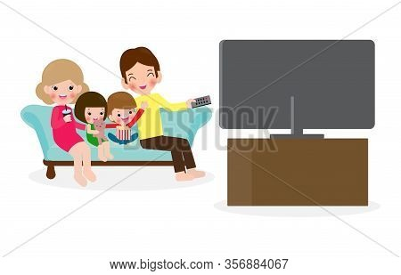 Family Watching A Tv Show Together, Happy Family Watching Television Sitting On The Couch At Home Is