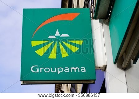 Bordeaux , Aquitaine / France - 11 13 2019 : Groupama Logo Office Sign On French Insurance Agency