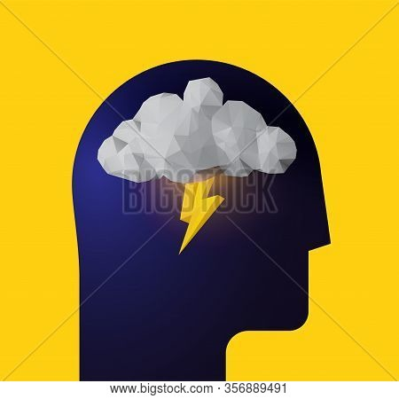 Depression. Panic Attack. Bad Mood. Humans Head Silhouette With Thunder Cloud Inside. Vector Illustr