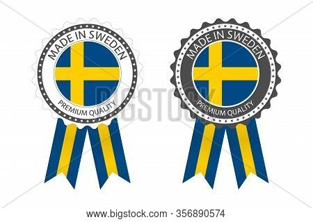 Two Modern Vector Made In Sweden Labels Isolated On White Background, Simple Stickers In Swedish Col