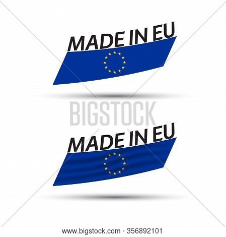Two Modern Colored Vector European Union Flags Isolated On White Background, Flags Of The European U