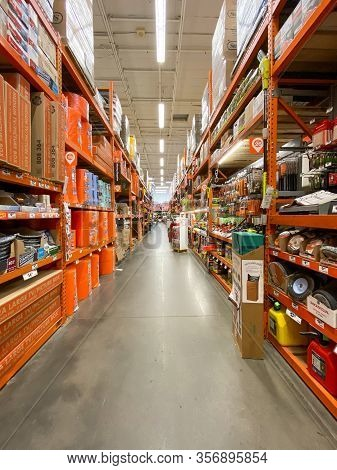 The Home Depot Store Department Section Aisles In San Diego, California, Usa. The Home Depot Is The