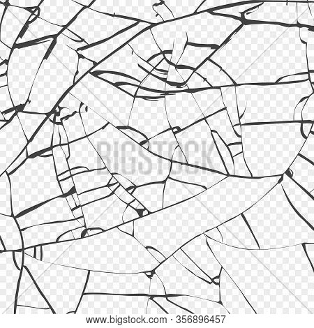 Surface Of Broken Glass Texture. Sketch Shattered Or Crushed Glass Effect. Vector Isolated On Transp