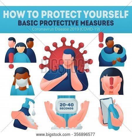 Coronavirus Covid-19 Preventions. Explaining Protection Measures. Infographics Banner, Wear Face Mas