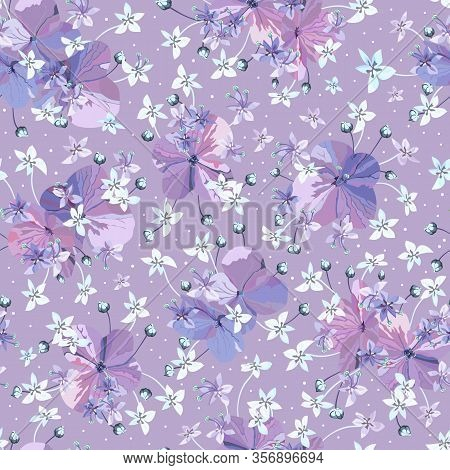 Floral Vector Lilac Colors Seamless Pattern. Purple Flowers With Buds And Small Light Blue Florets.