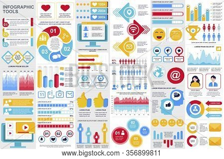 Social Media Infographic Elements Set. Social Marketing And Networking Visualization Templates Bundl