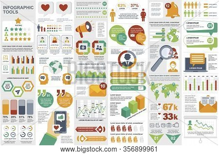 Social Media Network Infographic Elements Set. Social Marketing And Promotion Data Visualization Tem