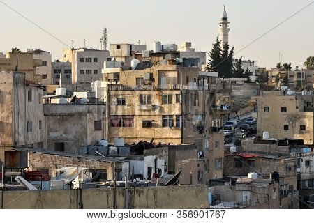 Amman, Jordan - February 15, 2020. View To The Residential Area At Sunset Of The City Amman, Jordan.