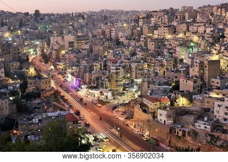 Amman, Jordan - February 15, 2020. View To The Residential Area Buildings Of The City Amman, Jordan.