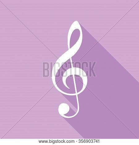 Music Violin Clef Sign. G-clef. Treble Clef. White Icon With Long Shadow At Purple Background. Illus