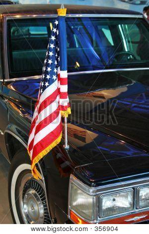 Us Flag On Limo