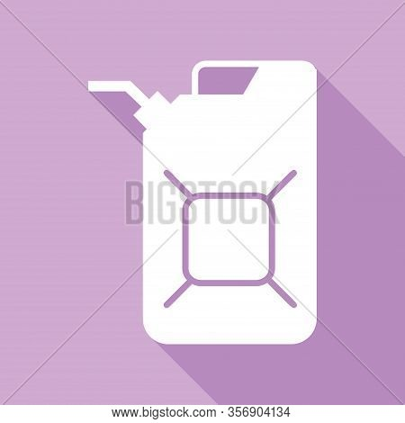 Jerrycan Oil Sign. Jerry Can Oil Sign. White Icon With Long Shadow At Purple Background. Illustratio