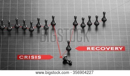3d Illustration Of Crisis And Disaster Recovery Chart Over Black Background. Business Continuity Pla