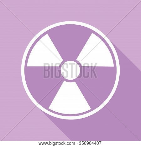 Radiation Round Sign. White Icon With Long Shadow At Purple Background. Illustration.