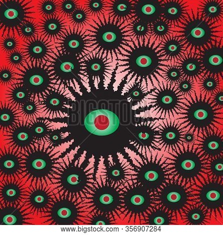 The Viral Swarm Of Covid 19 With Large Eyes Isolated Over A Red Background