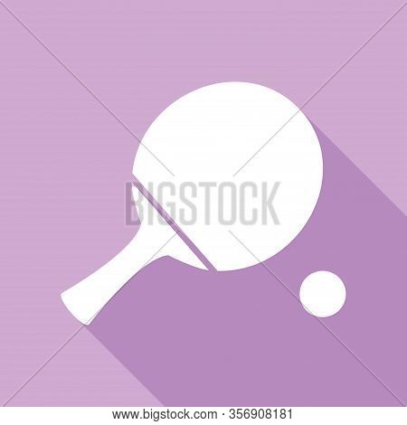 Ping Pong Paddle With Ball. White Icon With Long Shadow At Purple Background. Illustration.