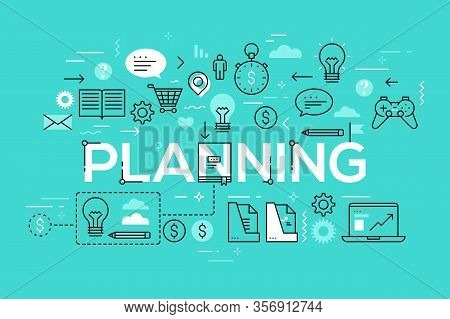 Creative Infographic Banner With Elements In Thin Line Style. Daily Scheduling, Effective Planning,