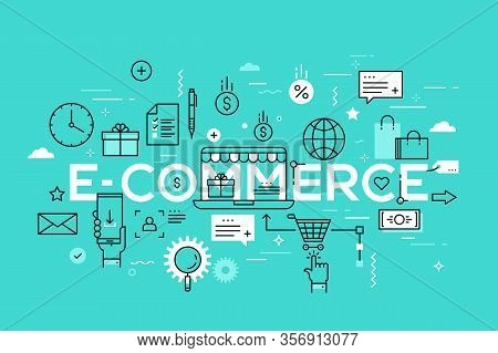 E-commerce, Online Shopping And Retail, Electronic Shops, Internet Of Things Concept. Creative Infog