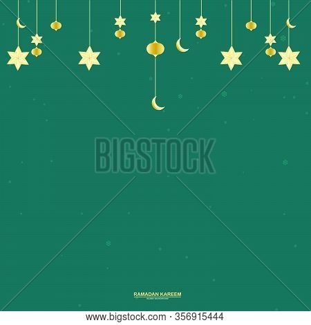 Ramadan Moon, Stars. Party Decoration. Golden Star And Moon. Greeting Card, Banner Or Invitation For