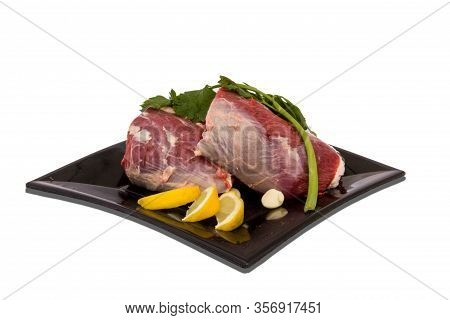 Plate With Raw Meat And Food Decorations 9