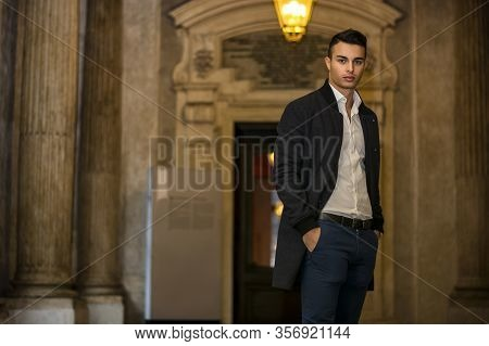 Elegant Young Man Outdoor Wearing Business Suit