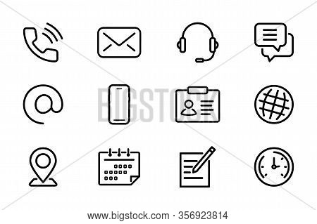 Contact Us. Web Icon Set. Lines Web Icons Phone, Smartphone, Email, Location, House, Globe, Address,