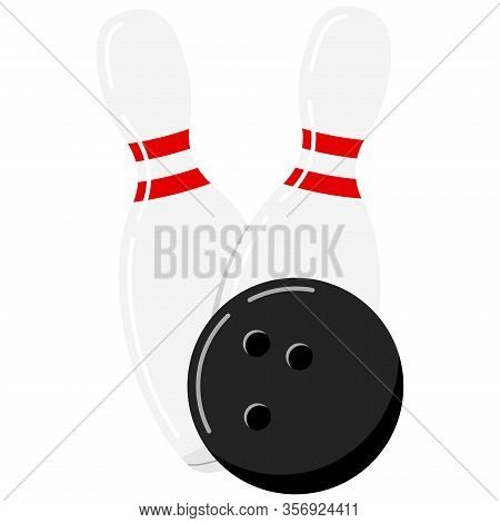 Bowling Ball And Pin Vector Icon Isolated On White Background. Black Bowling Ball And White Skittle.