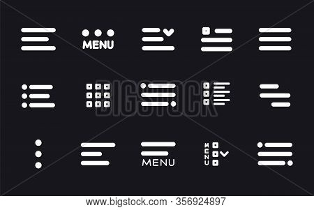 Menu Ui Design Elements Icons. Set Of Hamburger Menu Buttons. Website Navigation Icons For Mobile Ap
