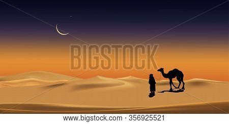 Vector Illustration Arab Man With Camel Walking In Desert Sands With Sunset In Evening,vertical Scen