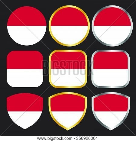 Indonesian Flag Vector Icon Set With Gold And Silver Border