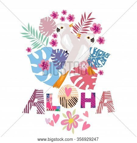 Tropical Flowers Background With Parrot, Flamingo, Aloha- Lettering, Summer Design. Cute Vector Elem