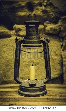 Old Candle With Wax Candle, Lighting Detail