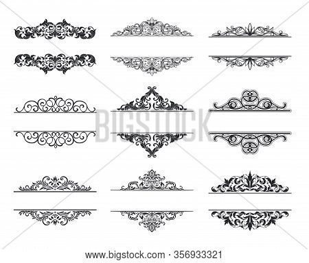 Vintage Design Elements . Decorative Swirls Or Scrolls, Vintage Frames , Flourishes, Labels And Divi