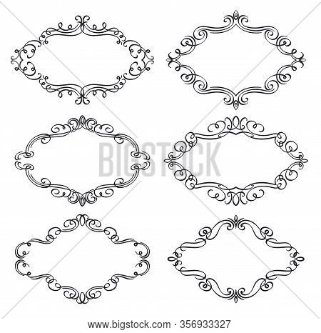 Calligraphic Frames. Ornamental Set Frame, Flourishes Ornate Border, Decorative Typography Page Elem