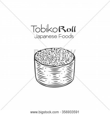 Tobiko Sushi Roll Outline. Japanese Traditional Food Icon With Flying Fish Caviar. Isolated Hand Dra