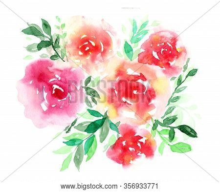 Delicate Watercolor Red And Pink Floral Roses Bouquet. Colorful Painting Flowers Composition With Te