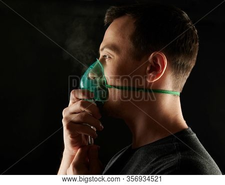 Healing Breath Problem Theme. Profile Of Man Holding Mask Next To Face