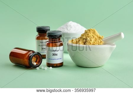 Bottles Of Homeopathic Drugs - Sulphur, Natrum Muriaticum, Substances And Ingredients For Preparatio
