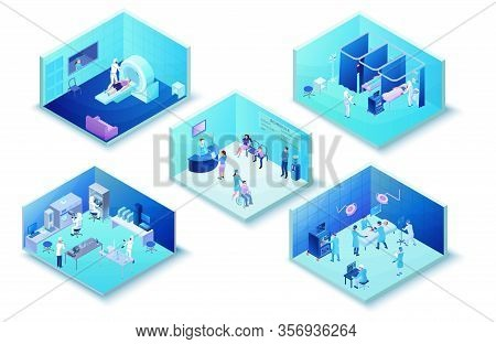 Medical Clinic Infographics Of Hospital With 2019-ncov Coronavirus Patients In Hall, Laboratory, Sur
