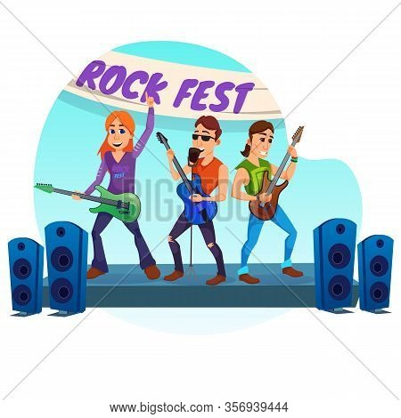 Advertising Poster Rock Fest Lettering Cartoon. Festival Is Held Annually And Is Sponsored By Large