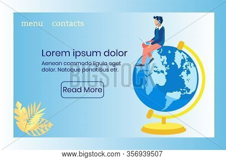 Advertising Poster Global Call Center Coverage. Banner Operator Accepts Calls. Guy In Casual Clothes