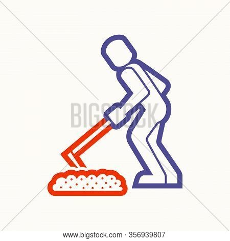 Worker And Concrete Work Vector Icon Design.