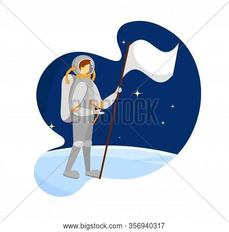 Space Man Standing On Blue Ground Surface Holding White Flag With Pole In Hand. First Step On New Fo