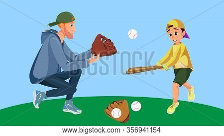 Cartoon Father And Son Play American Baseball. Boy Hold Baseball Bat Hit Ball, Man Glove Catch Vecto