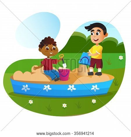 Cartoon Boys In Sandbox With Plastic Toy Basket In Park Vector Illustration. Happy Children Play At